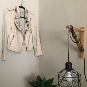Jackets & Blazers - Real leather cream jacket with studs